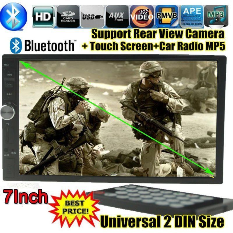 7 inch TFT screen Car radio MP5 MP4 2 DIN 12V Car Audio video USB/SD/MMC touch screen AUX IN bluetooth support rear view camera