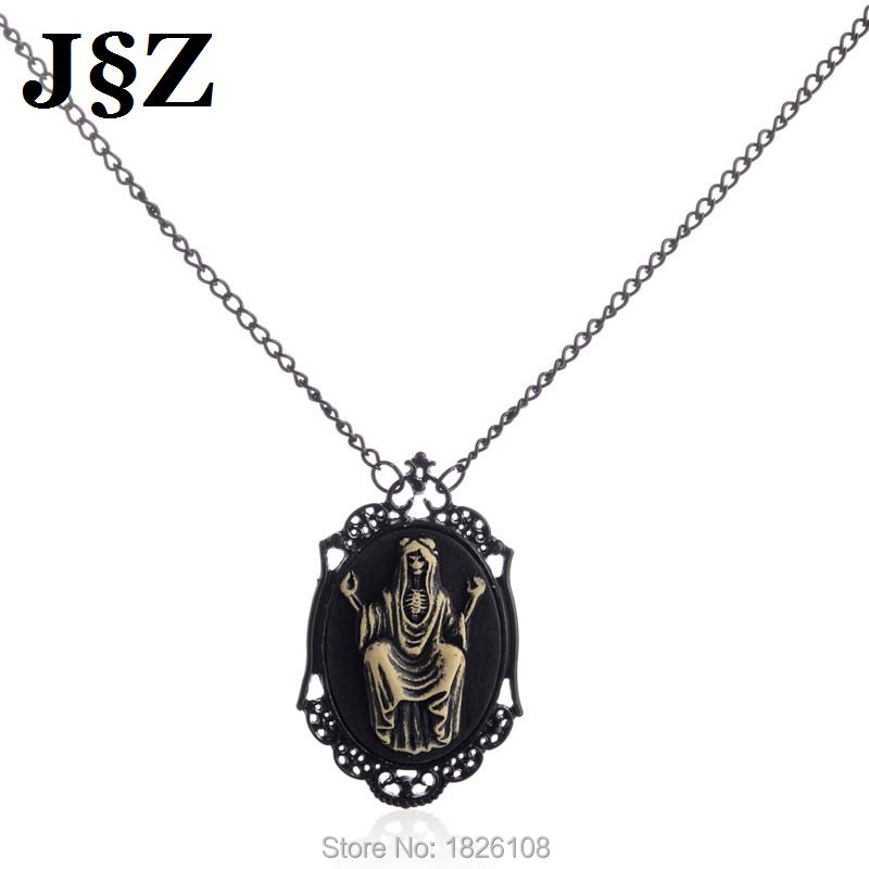 Collares Women Witcher Steampunk Mexican Skull Viking Black Necklace 21'' Long Chain Necklace Jewelry For Women Men Bijoux Femme(China (Mainland))