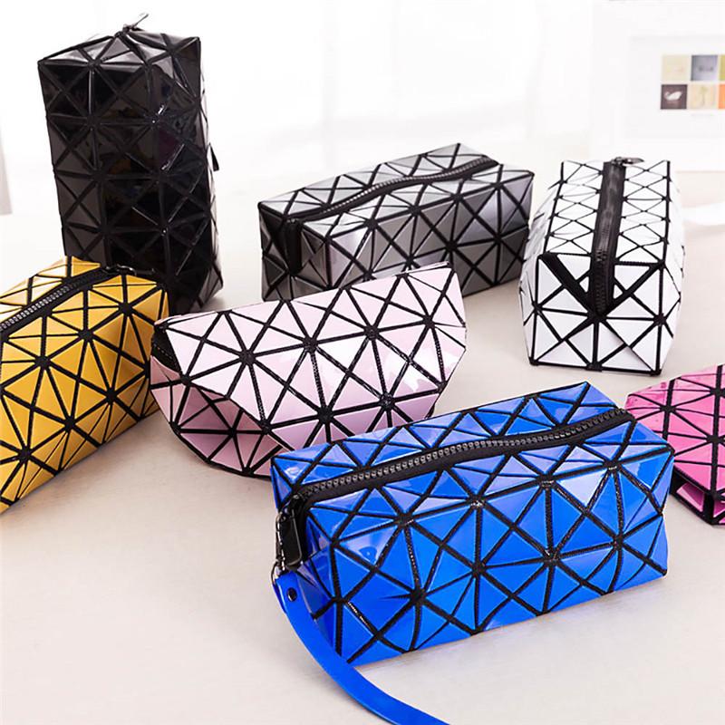 Colorful Geometric Diamond Lattice Cosmetic Bag Patchwork Storage Bag With Lanyard(China (Mainland))