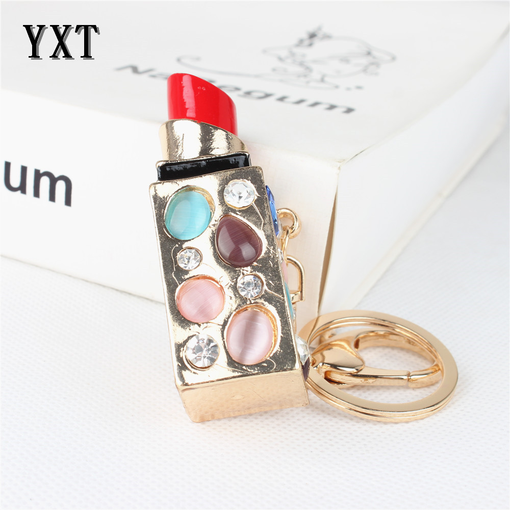 Sexy Lipstick Rouge Box Crystal Rhinestone Charm Pendant Purse Bag Car Key Ring Chain Creative Wedding Party Christmas Gift 284