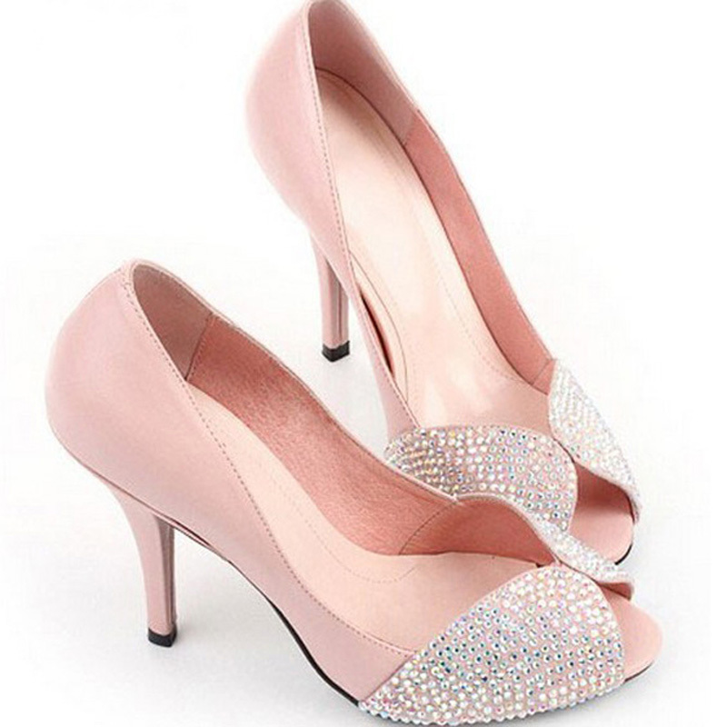 Pink diamond fish mouth shoes bride women's party dress Rhinestone Sparkling High Heel Shoes