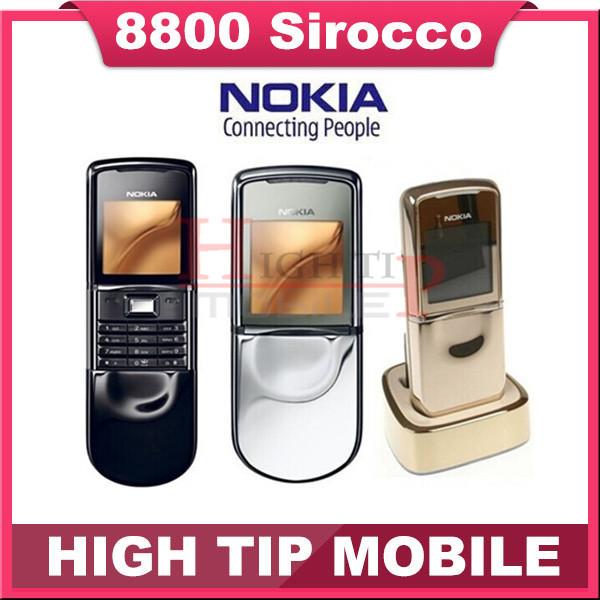 Original Nokia 8800 sirocco 128MB phones unlocked 8800S russian Keyboard language+ Desktop Charger+Case free Refurbished(China (Mainland))