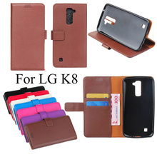 Hotsale Lychee PU Leather Filp Stand Wallet Mobile Phone Back Cover Case For LG K8 Cell Book Card Holder Business Shell Bags