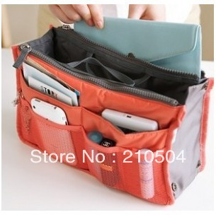 Big discount!7 Colors 12pcs/lot Large Capacity Functional Storage Bag women cosmetic bag insert with pockets size:28*18*10cm(China (Mainland))
