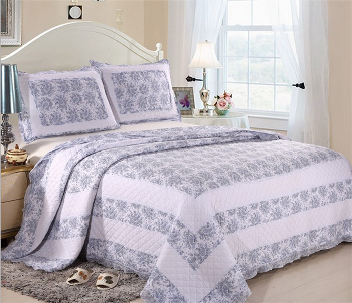 3pcs 230x250 cotton bedspread patchwork cool light blue. Black Bedroom Furniture Sets. Home Design Ideas