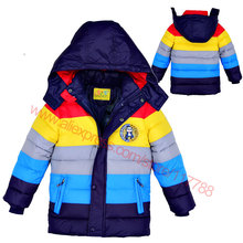 New 2015 Winter Children outerwear,Kids clothes hooded down coat girls boys coat striped baby clothing jackets for boys girls(China (Mainland))