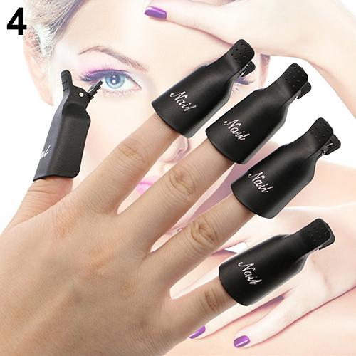 10Pcs Good Quality  Plastic Acrylic Nail Art Soak Off Clip Cap UV Gel Polish Remover Wrap Tool 5RYQ 2016 Hot Sale