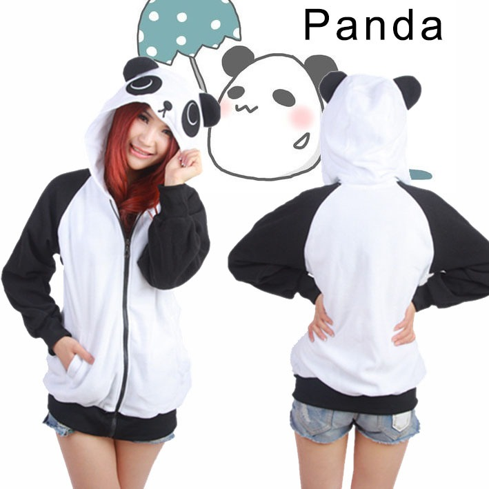 Women's Cute Panda Hoodies With Ears Cosplay Costume Zip ...
