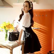 Original 2016 Brand Faldas Lolita Style Summer Plus Size Slim High Waist Fashion Sweet Solid Black Suspender Skirt Wholesale