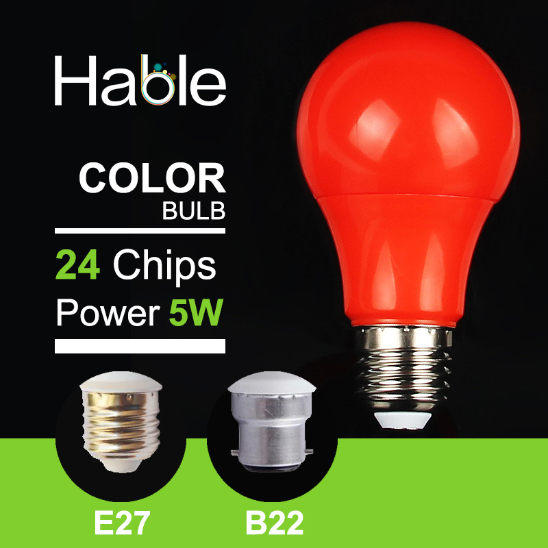 2016 Hable 5W 220V Red LED Bulb Light E27 B22 Colorful LED Lamp 2700K SMD 2835 With Warranty Card(China (Mainland))