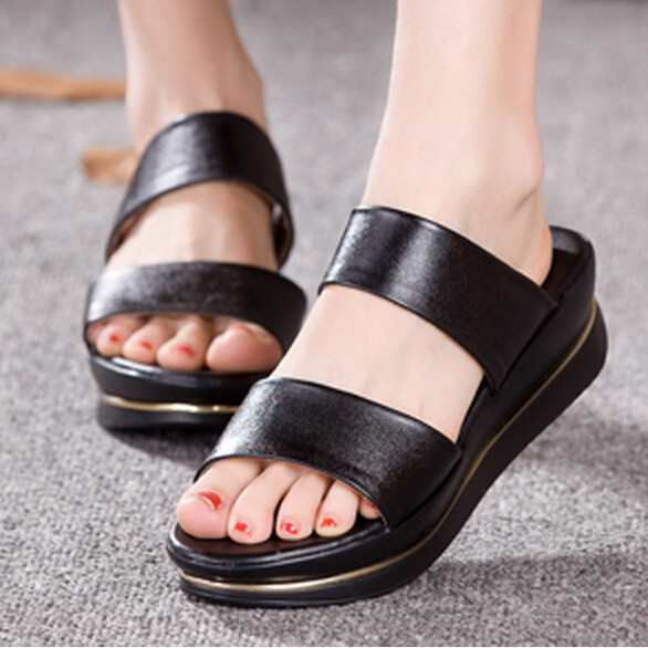 Thick Sole Metal Grain Leather Women Slippers Wedges Platform Trifle Summer Sandals Height Increase Lady Office Shoes Plus Size(China (Mainland))