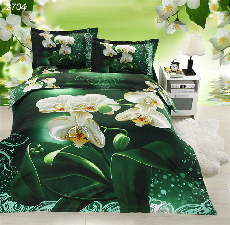 Green 3D bedding sets white flowers painting bedding double bed covers comforter cover set cover for quilts and comforters 2704(China (Mainland))