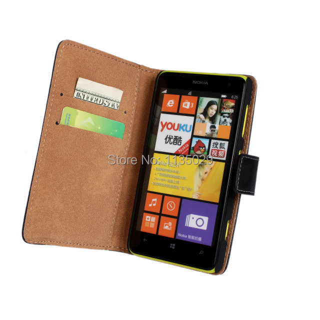 Wholesale 10pcs/lot Luxury Book Flip Cover Stand style Genuine Leather Folio Wallet Case with Card Slot For Nokia Lumia 625 n625