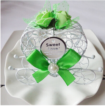 Royal Carriage Wedding Case Candy Heart Box Luxe Gift Favours Metal Rose Ribbon GREEN(China (Mainland))