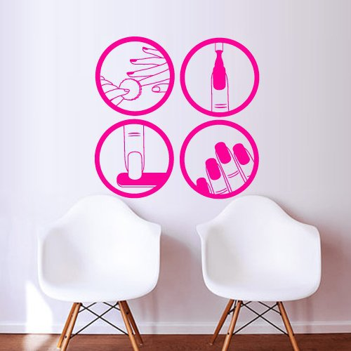 Nail shop vinyl wall decal nail polish beauty design for Stickers salon design