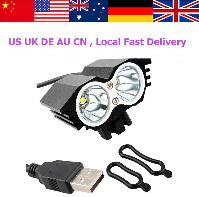 New 5000Lm SolarStorm 2x CREE XM-L U2 LED Bicycle Light Bike HeadLight 3 Modes high/Mid/Low(Hong Kong)