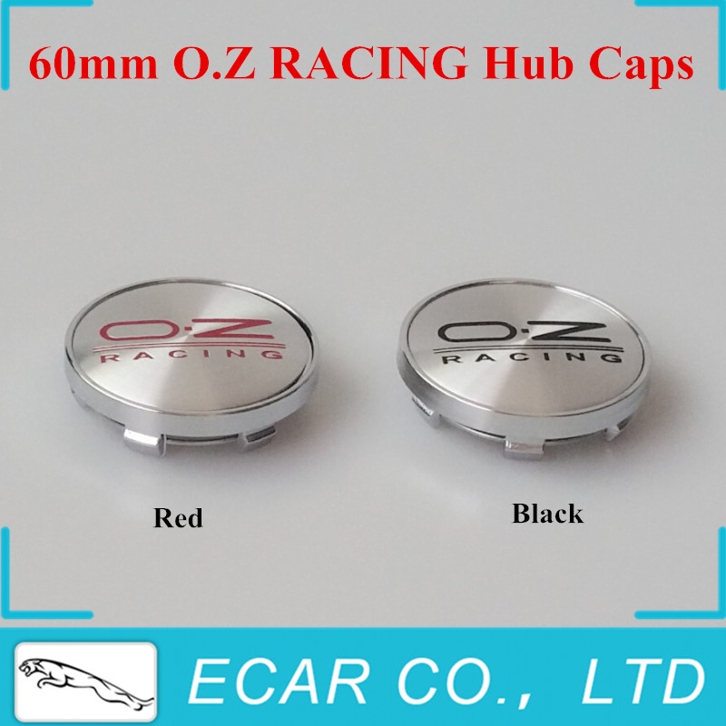 Car Styling 4 x 60mm BLACK / RED OZ O.Z Racing Wheel Center Hub Caps Car Emblem Badge Logo For VW GOLF POLO CIVIC CRUZE(China (Mainland))