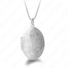 Vintage Photo Locket Necklace 925 Sterling Silver Jewelry Pendant Necklace Women Gift Free Shipping