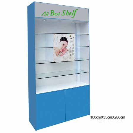 Wooden glass cosmetic display showcase cabinets shelf manufacture cheap factory price(China (Mainland))
