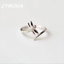 Личность Новая Мода Небольшой Свежий Простой Кристалл Стерлингового Серебра 925 Стрекоза Открытие Кольца SR93(China (Mainland))