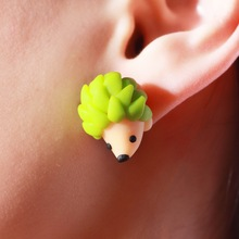 2016 New Fashion Colourful Handmade Polymer Cute Hedgehog Stud Earrings For Women Jewelry Gifts brincos 0523(China (Mainland))