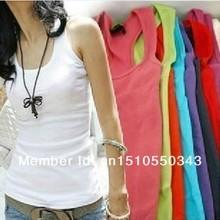 12 Pcs/lot Quality Guarantee Women's Cotton T-Shirts Tank Tops Pure Color summer sleeveless vest basic shirts(China (Mainland))