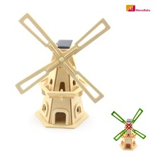 Hot Sale Solar Colored Painting Windmill Toys Wooden Assembled Model 3D Puzzle Assembling  Birthday Gift For Children(China (Mainland))