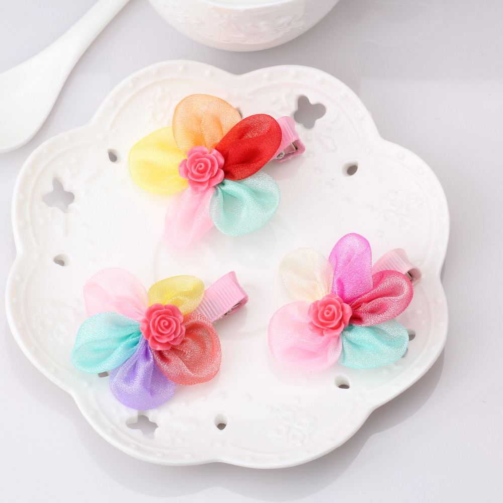 Hot Winter Style Colorful Chiffon Flower Hair Clips Size 5*5cm Children Hair Accessories Kids Hairpins Baby Hair Clip(China (Mainland))
