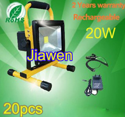20W rechargeable led floodlight Epistar 90-100lm/w high quality Guarantee 2years CE ROHS,led work light rechargeable 20pcs/lot(China (Mainland))