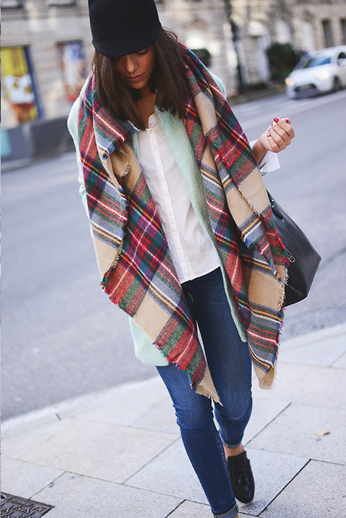 Free Shipping New Fashion Brand Winter Quality Ladies Scarf Large Multi Coloured Checked Plaid font b