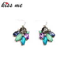 Sparkly Multicolor Imitation Gemstone Flower Small Earrings Fashion Jewelry Women Accessories(China (Mainland))