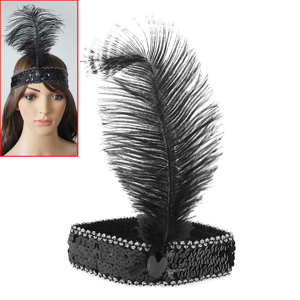 Girl Charming Mysterious Feather Headband Flapper Sequin Costume Fancy Dress Hair Band Show Dancing Party Cocktail Actress Black(China (Mainland))