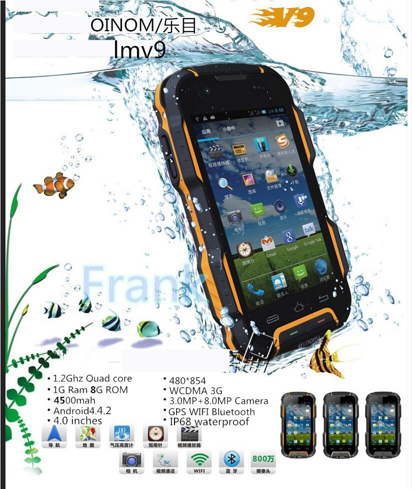 GIFT BAG! OINOM LMV9 Waterproof IP68 Shockproof phone 4500mAH Quad cores 4 inch 1G RAM 8G ROM WCDMA Android4.4.2 8MP GPS A8 A9(China (Mainland))