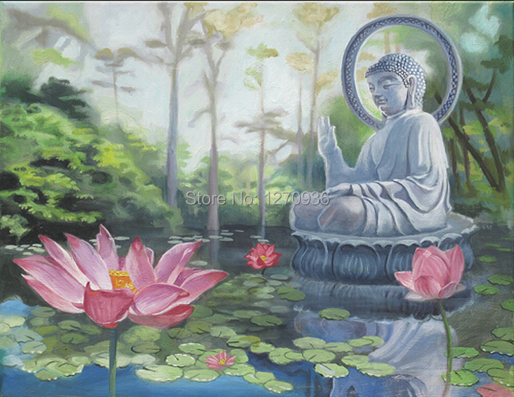 Popular Item High Quality Low Price Canvas Support Oil Medium Handmade Buddha Oil Painting on Canvas, Art Works for Decoration(China (Mainland))