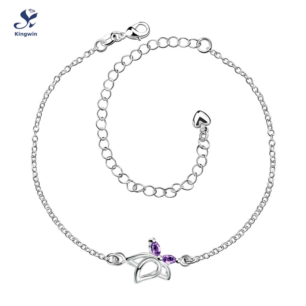 A011-B fine quality anklets for women sterling silver jewelry rhodium plated free shipping extension chain for adjustable length(China (Mainland))