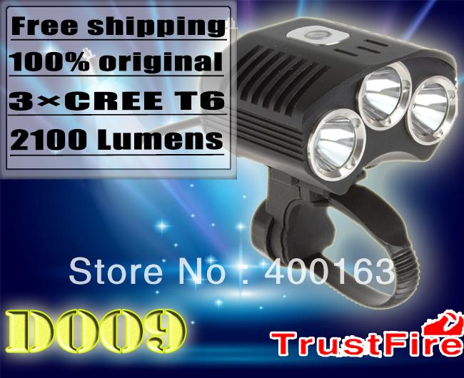 Christmas Trustfire new design 2100 lumens 3*cree XML-T6 led bike light (18650 battery pack)(China (Mainland))