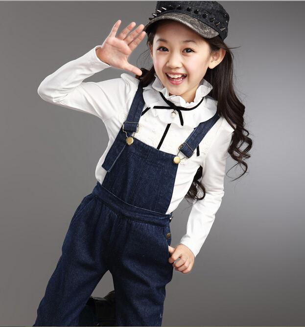 Girls Clothing Sets Children Denim Overall Set Casual Long-Sleeve T-shirt &amp; Overalls 2Pcs Suits Sport Suit Big Kids Clothes Sets<br><br>Aliexpress