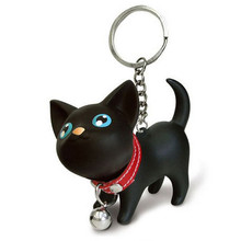 Meow doll keychain Cat Kitten Keyring Bell Toy couple Lover Key Chain Rings For Handbag cute gift #EE(China (Mainland))