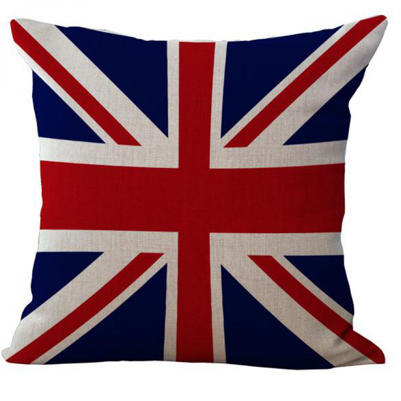 Factory Wholesale American And British Flags Pet Dog Personality Cotton Linen Throw Pillow Case Cushion Cover