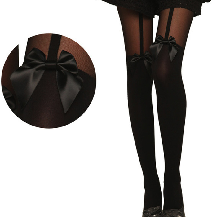 Sexy Black Sheer Bow Stripe Thigh High Over The Knee Medias Hosiery Fake stitching Stockings Pantyhose(China (Mainland))