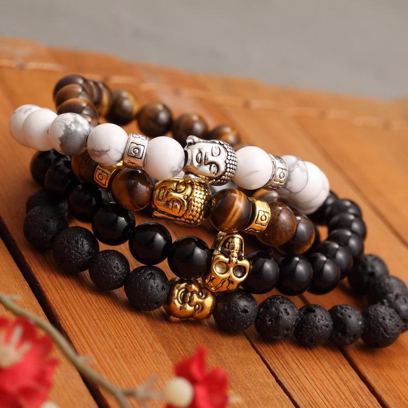 New Fashion Men s Bracelet Gold Silver Buddha skull Elastic Black Color Beaded Tibet Charm Lucky