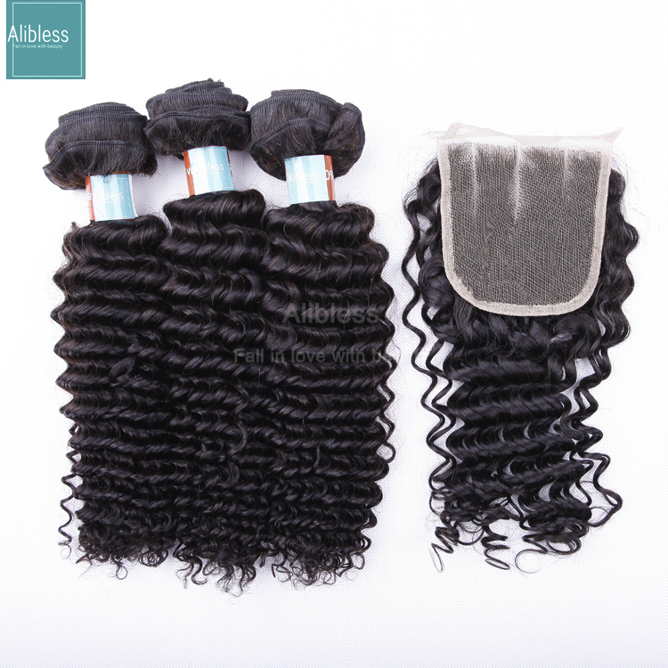 8A Unprocessed Malaysian deep wave with closure.3pcs virgin remy human curly hair bundles with free/mid/three part lace closure(China (Mainland))