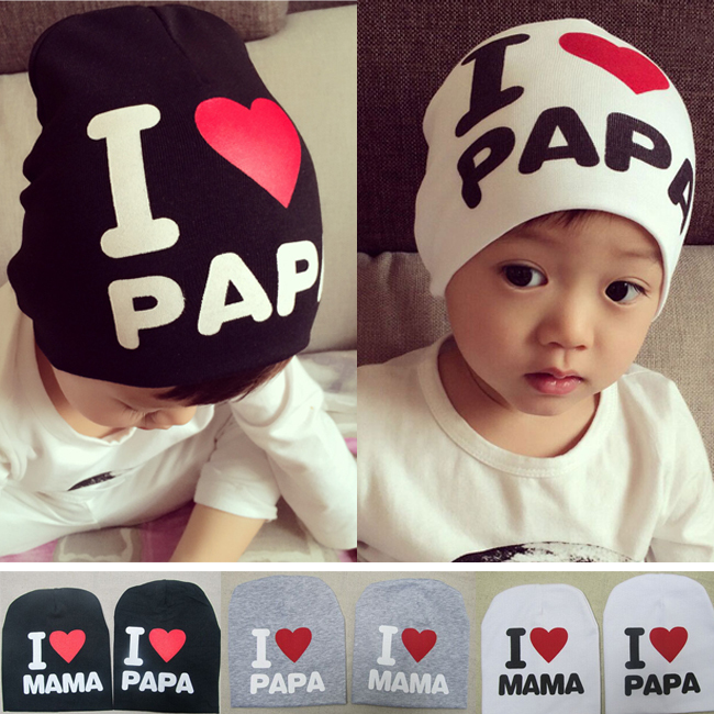2015 Fashion Baby Boy Girls Crochet Hat Cotton Warm Autumn Cap Kids Hats Beanies Pentagram I love papa I love mama/baby hat(China (Mainland))
