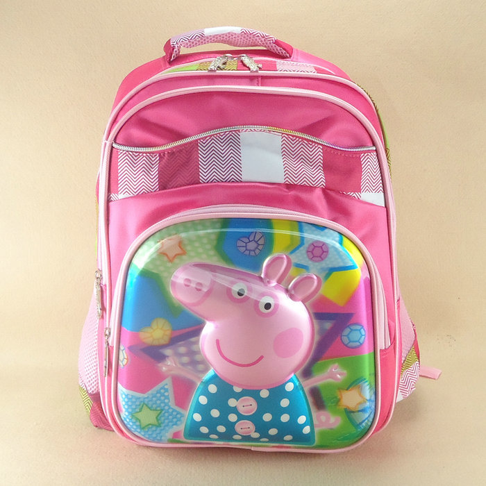 New Come Cute Cartoon Brand Pink Peppa Pig 3D School Bag for Girls Kids' Backpack Children's Day or Birthday Gift(China (Mainland))