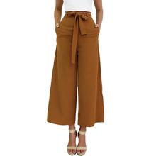P177 Women's Vintage Loose Fit Bow Tie High Waisted Casual Ankle-Length Wide Leg Pants Pockets Trousers Plus Size S-XL 2016 New(China (Mainland))