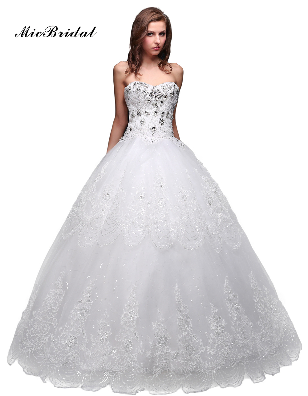 Wedding Dresses With Crystals : Micbridal free shipping ball gown princess sweetheart