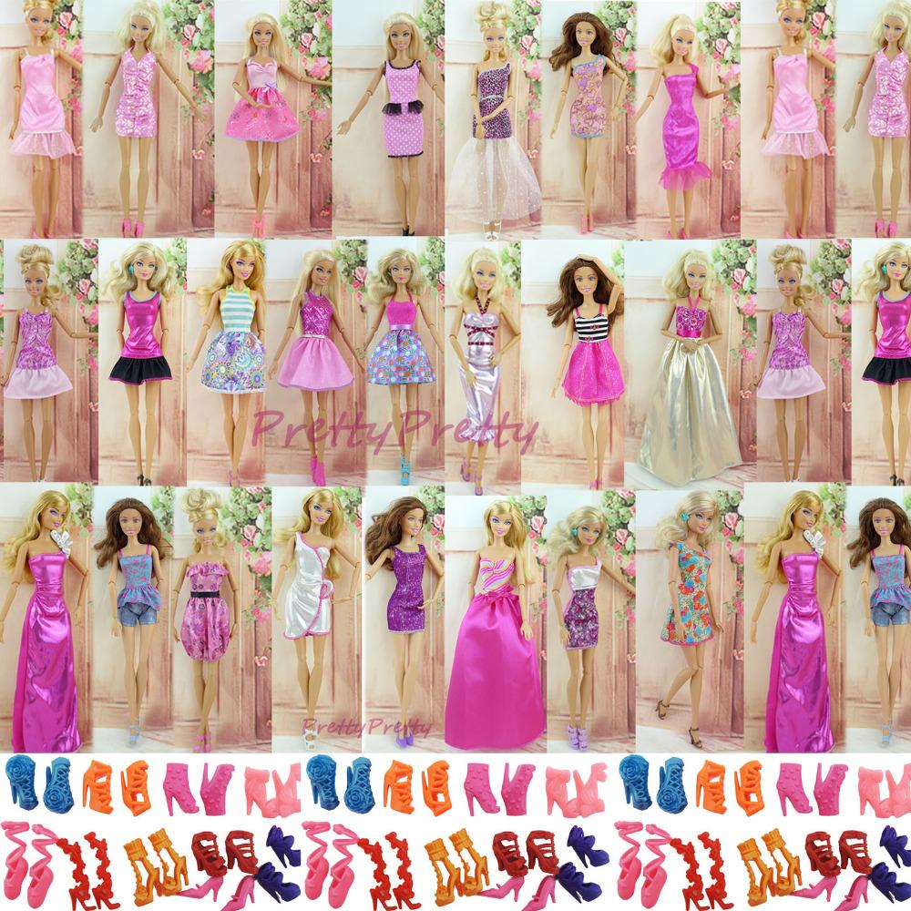 Randomly Pick 24 Pcs Original Doll Dress Princess Skirt +10 Pair Heels Shoes For Barbie Doll best baby christmas gift Baby Toy(China (Mainland))