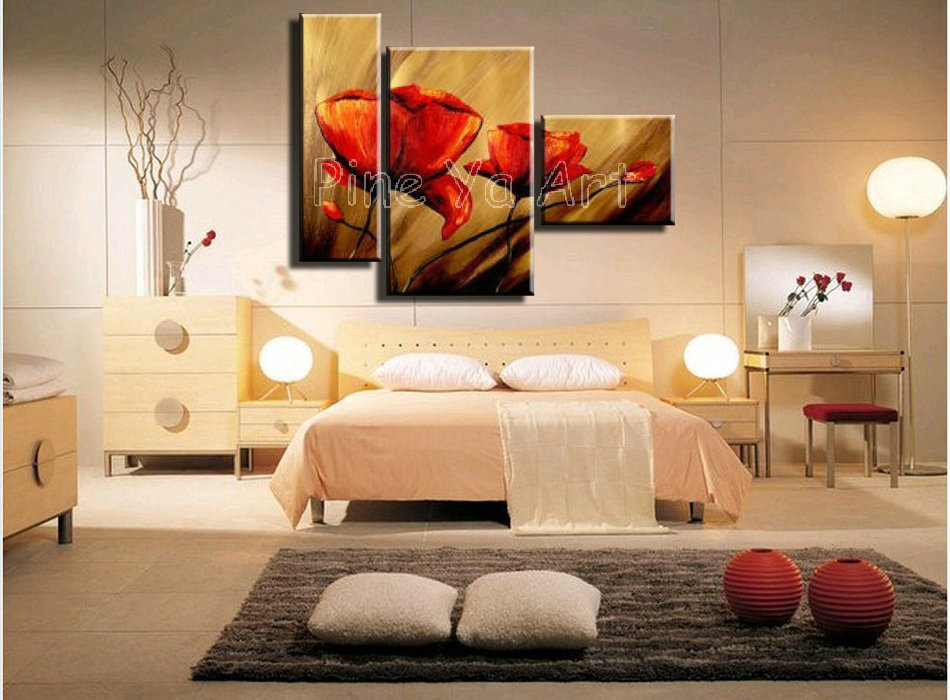 cheap handmade red poppy floral oil painting on canvas for living room