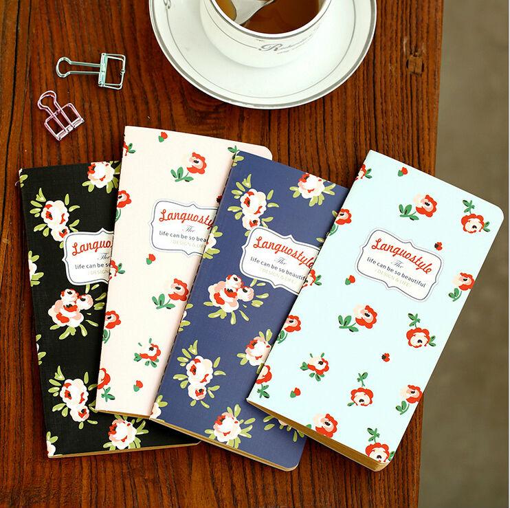 4pcs/lot Vintage Sweet Garden Flower series Kraft Paper notebook/Soft cover Stitching Binding Retro Diary WJ0171(China (Mainland))