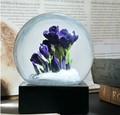 9Pig Souvenirs Crystal Ball Snow Globe Saffron Purple Flower White Snowflake Falling Transparent Ball Home Office